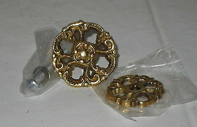 """6 Brass Knobs 1 1/2 """", new old stock -  brass finish Lot#33"""
