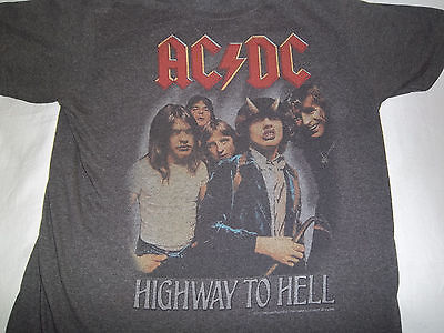 """Vintage Original AC/DC """"HIGHWAY TO HELL"""" T-Shirt {with Bon Scott!!}-FADED-Size M"""