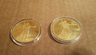 Lot of 2 1933 Saint-Gaudens $20 Double Eagle Uncirculated Gold Plated Copy Coin