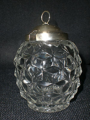 Fostoria American Cube Glass Honey Jam Jar Pot
