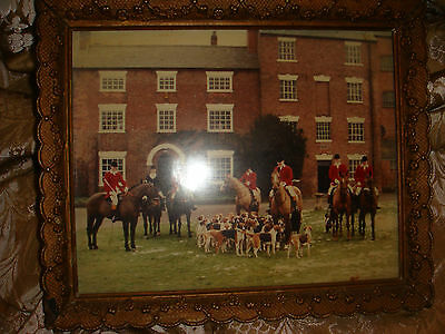 vintage antique hunting photo picture print framed possibly leicestershire