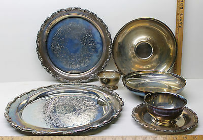 6 pc Mixed Lot Oneida Royal Provincial Silverplate Trays Bowls Cups + Sheridan