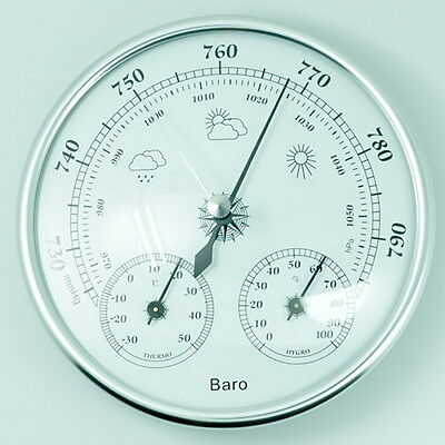 130mm Wall Hanging Barometer Weather Thermometer Hygrometer Home 960~1060hPa $