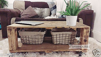 Rustic Pallet Coffee Table with Wheels - Upcycled - Industrial - Loft - AHVIMA