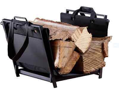 Firewood Log Rack Carrier Canvas Tote Indoor Heavy Duty Storage Fireplace Holder