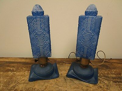 Antique Vintage Pair Art Deco Period Blue Table Desk Bedroom Boudoir Lamps Light