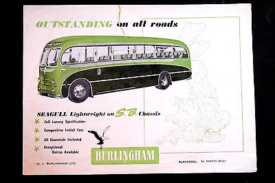 BURLINGHAM SEAGULL COACH / BUS for BEDFORD SB CHASSIS : 1955 SALES BROCHURE