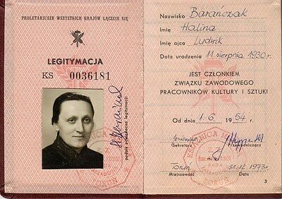 POLAND: ID CARD - UNION OF CULTURAL AND ART WORKERS (Torun - 1954) (# 5054)