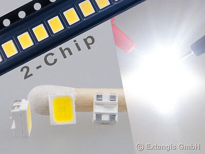10x SMD LED PLCC4 3528 DOPPELCHIP PUR WEISS pure white 2-chip blanc very bright