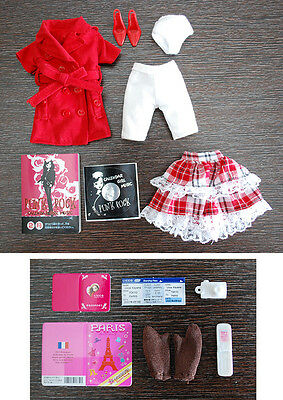 Loose outfit costume red coat + stand clear for Blythe Azone Dal pulip 1/6 Doll