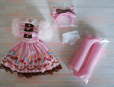 Loose outfit costume cosplay Pink lolita loli dress Blythe Azone Dal 1/6 Doll