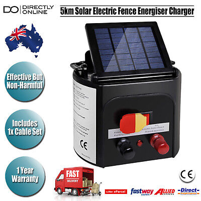 Dog Horses Solar Electric Fence Charger 5km Farm Animals Pest Control Supplies