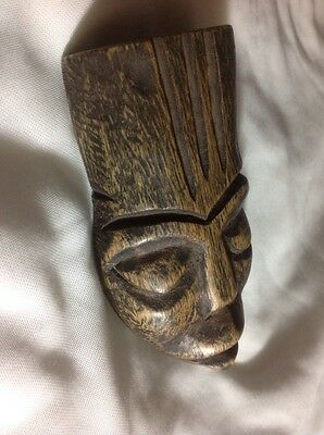 VTG African Tribal Ethnic Art Wood Carving Face Mask Wall Hanging Folk 4.5""