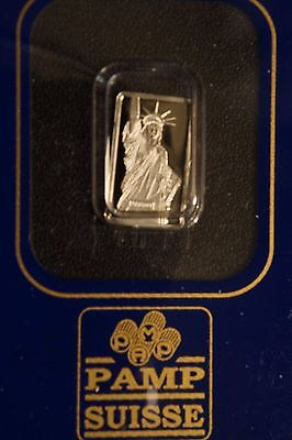1 gram Platinum Bar - PAMP Suisse - Liberty- 999.5 Fine in Small Sealed Assay