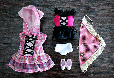 Loose outfit costume cosplay pink & black for Pullip Blythe Azone Dal 1/6 Doll