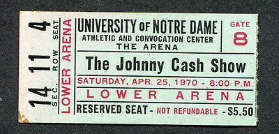Original 1970 The Johnny Cash Show concert ticket stub University Notre Dame b