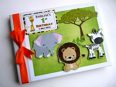 Personalised Safari Theme Boy/girl /first/1St Birthday Guest Book Any Design