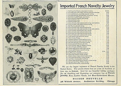 1904 Imported French Novelty Jewelry Original Vintage Print Ad Costume