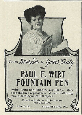 1905 Paul E. Wirt Fountain Pen Original Print Ad