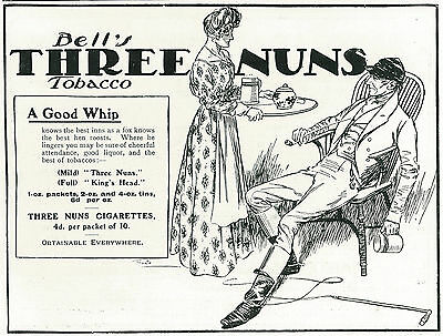 1906 Bell's Three Nuns Tobacco Pipe Polo Maid Vintage Original Print Ad