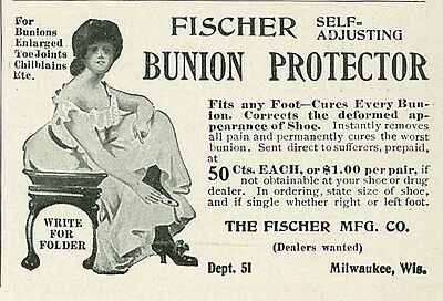 1904 Fischer Self Adjusting Bunion Protector Original Print Ad