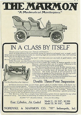 1906 Marmon Model C Four Cylinders Air Cooled Car Automobile Original Print Ad