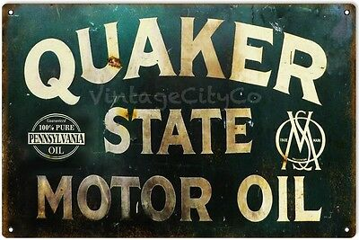 """Antique Style """" Quaker State Motor Oil """" Metal Sign - Rusted"""