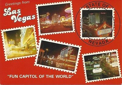 """Greetings from Las Vegas """"Fun Capitol of the World"""" Vintage Postcard"""