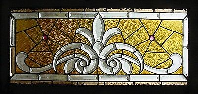 Antique American Stained & Beveled Glass Transom with Zipper Cut Decoration