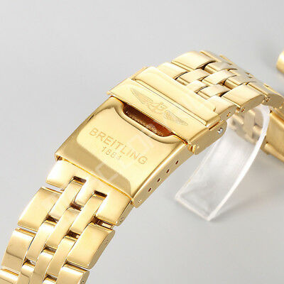 22/24mm Curved End Solid Stainless Steel Bracelet Watch Band Strap(Gents Golden)