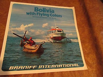 Vintage Braniff International Airlines Poster 1970s - Bolivia