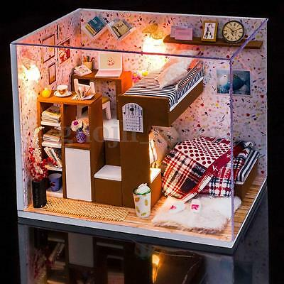 New DIY Wood Dollhouse Miniature Kits with LED+Furniture+Cover Dolls House Room