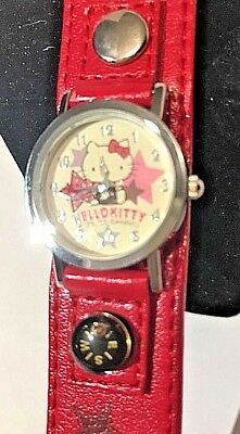 Sanrio Hello Kitty Rare Watch Wide Red Band Compass Stars 2004 NIB New Battery!