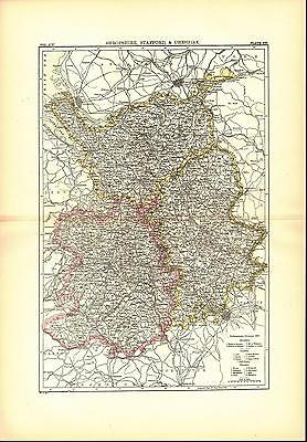 Shropshire Stafford Cheshire England Antique Map 1896