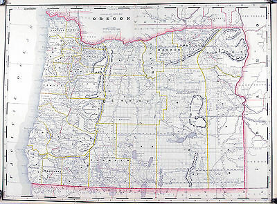 Oregon Railroad and County Native American Reservations Antique Map 1887