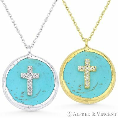 Cross Christian Charm CZ Faux Turquoise .925 Sterling Silver Pendant & Necklace