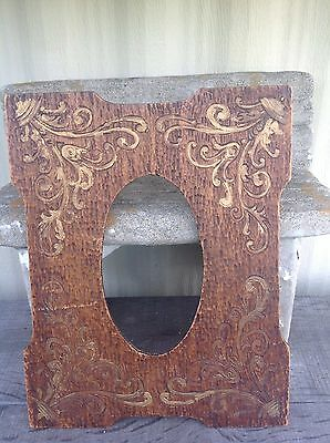 Vintage Carved Wood Antique Gold Accent Plaque Photo Picture Frame *RARE*