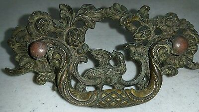 7 UNIQUE  VERY ORNATE. Antique Brass  Drawer/cabinet/chest/Pulls