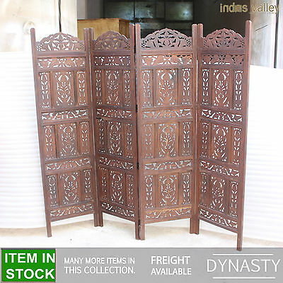 Dynasty carved indian balinese partition screen room divider brown panel