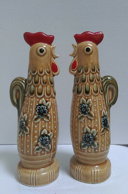 Vintage ceramic rooster salt and pepper shakers made in Japan