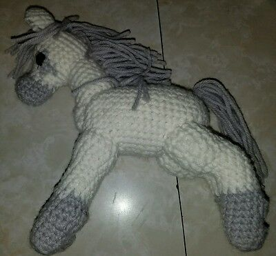 Crocheted horse pony white and gray