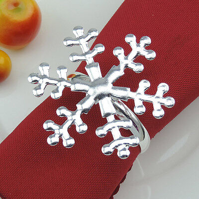 12pcs Silver Snowflake Napkin Ring Buckle Holder Christmas Wedding party Dinner