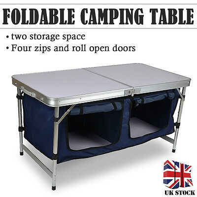 New Camping Folding Kitchen Table Stand Outdoor Picnic Cupboard Storage Portable