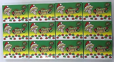 909974 12 x 113g BOXES OF WARHEADS CHEWY CUBES - *CHRISTMAS EDITION* SOUR CANDY!