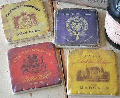 New Antique Vintage Margaux Wine Coasters Ceramic Set Of 4 Aged French Gift