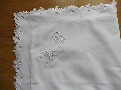 Ancienne  Taie Oreiller Coton Festons Monogramme Mb