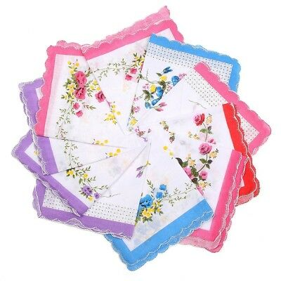 10Pcs Vintage Floral Flowers Design Handkerchief Lady Women Kids Cotton Hanky