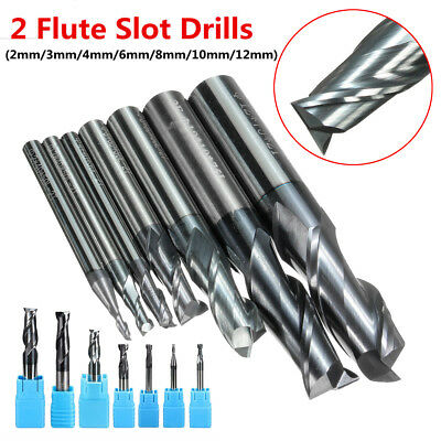 Solid Carbide End Mill 2 Flute Tungsten Coated CNC Slot Drill 2/3/4/6/8/10/12mm