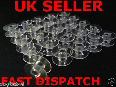 50 X Clear Plastic Sewing Bobbin Spools 20X11Mm Brother Janome Singer Many Other