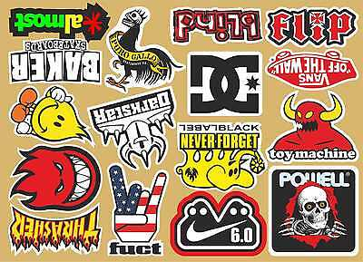 16 Skateboard Stickers A4 Sticker sheet surf skate scooter mobile tablet car vw